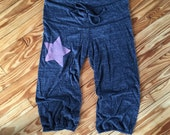 SALE Yoga Pants, Star Pants, Cropped Pants, Size XL