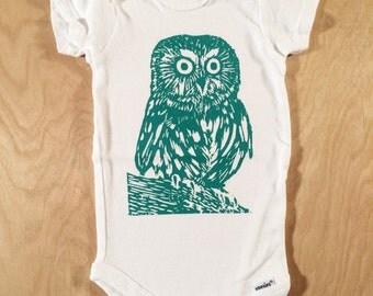Owl Screen Printed Baby Onesie Turquoise
