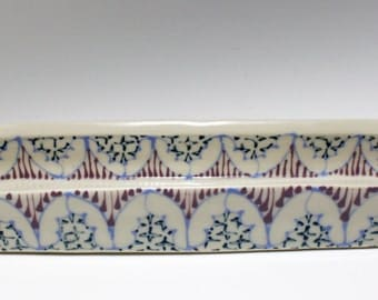 Handmade Wheel Thrown Ceramic Olive Boat with Sky Blue, Purple and Navy Pattern