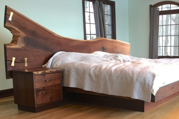 natural edge walnut bed set with solid