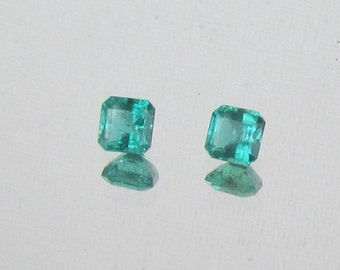 Natural Emerald Pair for Earrings May Birthstone Square Shape