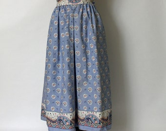 Vintage Anne Marie French Provincal Print Skirt - blue Les Olivades print fabric - floral and paisley - size XS - S - 1980s summer skirt
