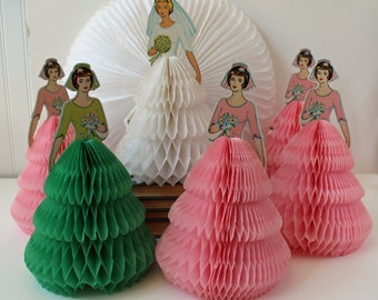Vintage Beistle Co. honeycomb bride and 5 bridesmaids centerpiece set - pink and green bridesmaids - additional honeycomb circle