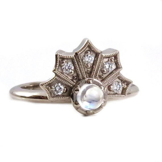 Moonstone and Diamond Crown Engagement Ring - 14k Palladium White Gold