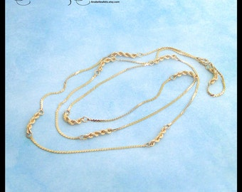"""14K Yellow Gold Necklace / 26"""" Combination Rope & Herringbone Chain / 4.65 Grams / Long Chain / Estate Jewelry"""