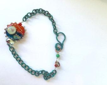 Sunset lampwork, Aqua patina, copper chain, Lilyb444, Teal orange bracelet,