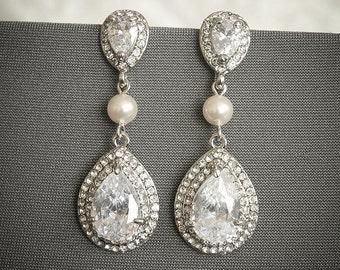 Wedding Earrings, Bridal Chandelier Earrings, Crystal Teardrop Dangle Earrings, Art Deco Wedding Earrings, Swarovski Pearl Earrings, ADAMIA