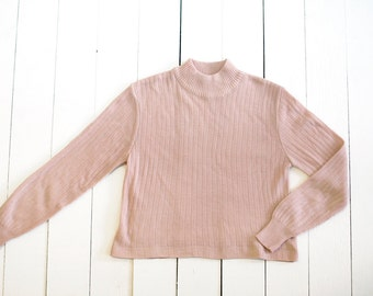 Reserved - SALE - Vintage cropped pale peach ribbed turtle neck sweater - small