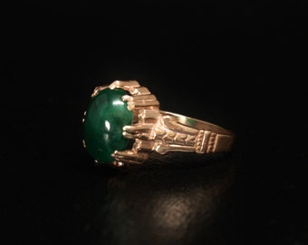 Emerald Solitaire Rose Gold Ring 10K Size 8 Emerald Solitaire Wedding Ring