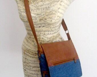 Faux Vegan Leather and Denim Crossbody Handbag - Brown and Navy - 9 Pockets