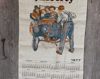Vintage Printed Linen Kitchen Calendar 1977