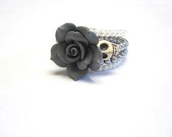 White Day of The Dead Bracelet Sugar Skull Gray Rose Jewelry