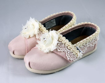 Flower Girl shoes Toddler --Custom TOMS For Flower Girls -- Lace TOMS Pink petal- Swarovski TOMS