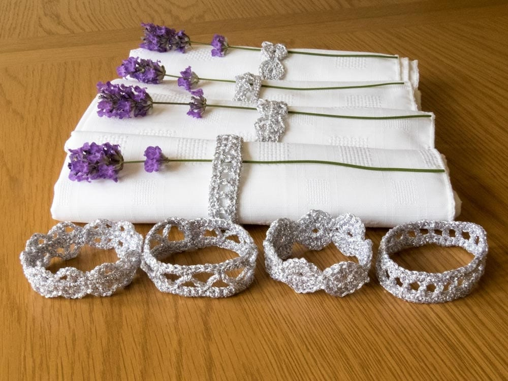 sparkly silver crochet napkin rings set of 8 napkin rings. Black Bedroom Furniture Sets. Home Design Ideas