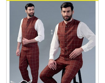 McCall's Pattern M7399 Men's Single and Double-Breasted Vests in 3 Styles and Tapered Pants Sizes 46-52 NEW