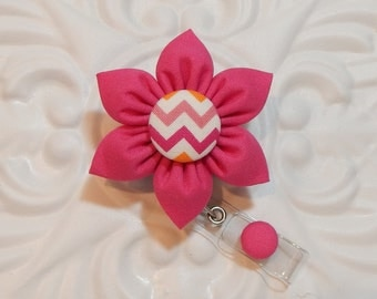 Retractable Badge Holder - ID Badge Reel -  Flower Id Badge Reel - Pink