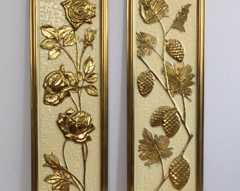 Vintage 1960's Pair Elpec Gold + Cream Rose + Pinecone Wall Hangings