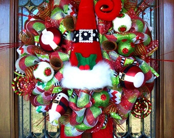 Whimsical Christmas Santa Luxe Hat and Boots Wreath