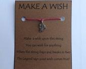 ICE SKATE #1 Silvertone Wish STRING Bracelet String Friendship Charm Lucky Amulet Cord Color Choice