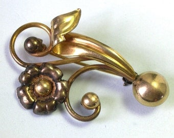 Antique Retro Old Beautiful Gold Filled Vintage Gold Flower Brooch, antique flower pin, Gold Flower Pin, Mothers Day Gift, old brooch