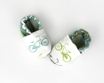 Bicycle Baby Soft Sole Shoes- Eco Friendly Unisex Cruiser Teal, Green and Gray Bike - Slippers. Baby Clothes. Baby Bike. Gift for Baby