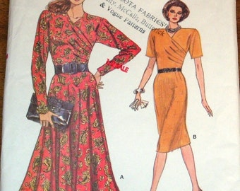 Vogue 7006 Fitted Wrap Top, Two Skirts, Womens Misses Vintage 1980s Very Easy Sewing Pattern Size 14 16 18 Bust 36 38 40 Uncut Factory Folds