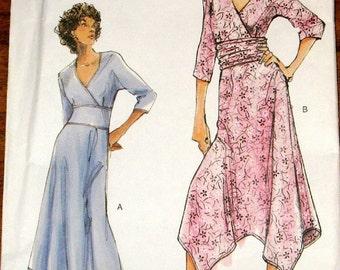 Vogue 7820 Hanky Hemine Dress, Surplice Bodice, Overlay Midriff Womens Misses Easy Sewing Pattern Size 12-16 Bust 34-38 Uncut Factory Folds