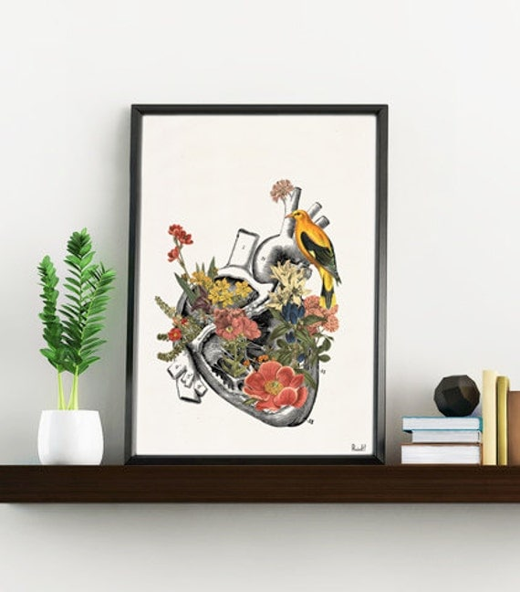 Wall art prints Flowery Heart with bird -Anatomical heart, Office wall decor, Doctor gift, Wall art -Yellow Bird SKA110WA4