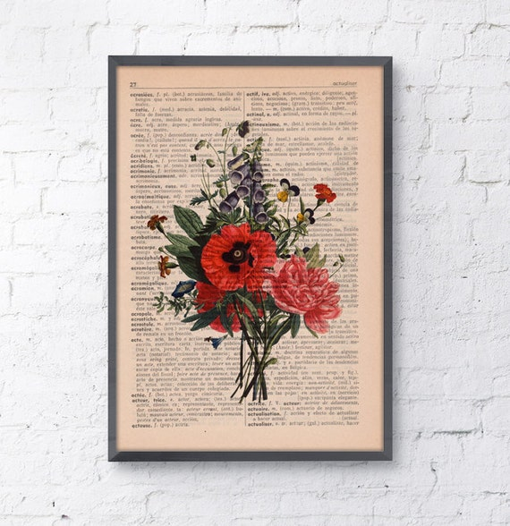 Summer Sale Wall decor Floral Bouquet Print Dictionary print flower on french book page wall decorative art Gift botanical BFL146