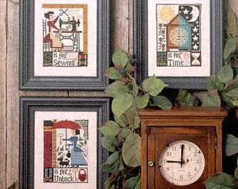 S T U counted cross stitch patterns : Prairie Schooler folk art prim alphabet sampler hand embroidery