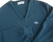 Mens Izod Lacoste Sweater Pullover V Neck Navy Blue Size Large L