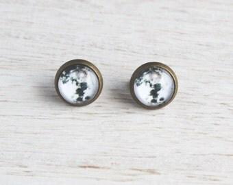 Full Moon Stud Earrings - Tiny Stud Earrings - Space Jewelry - Galaxy Jewelry - Minimalist Earrings
