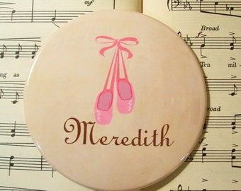 Personalized Ballerina Magnet for Girls, Large 3.50 Inches, Gifts for Little Dancers, Pink Ballet Slippers Magnet