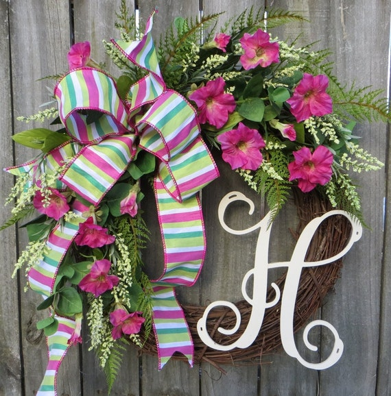 Wreath - Spring Wreath - Summer and Spring Decor - Summer Wreath - Designer Wreath - Front Door Wreath - Pink Green Emerald
