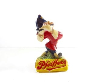 Vintage Beer Advertising Statue / Pfeiffers Beer Chalkware Figurine / Vintage Bar Decor