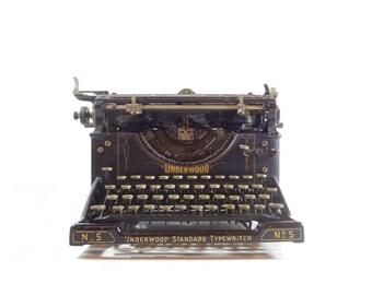 Vintage Underwood No. 5 Manual Typewriter