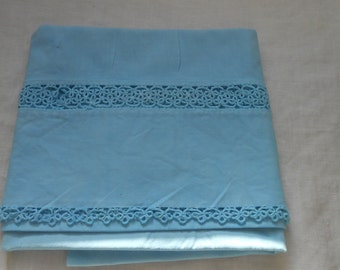 Vintage Hand Dyed Aqua Tatted Pillowcase
