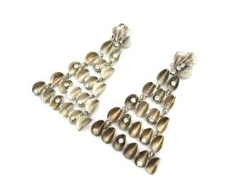 Rhinestone & Bronzed Silver Dangle Earrings. Long Chandelier Style. Mod Geometric Clip Ons. Designer Signed. Vintage 1960s Statement Jewelry