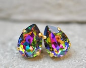 Dark Rainbow Stud Earrings Swarovski Crystal Tear Drop Pear Stud Dangles Clip on Jewel Tone Rainbow Crystal Studs Rainbow Bridesmaid Gift