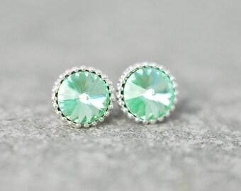Mint Green Earrings Organic Edge Swarovski Crystal Icy Mint Seafoam Stud Earrings Green Wedding Soft Pastel Green Bridesmaid Mashugana