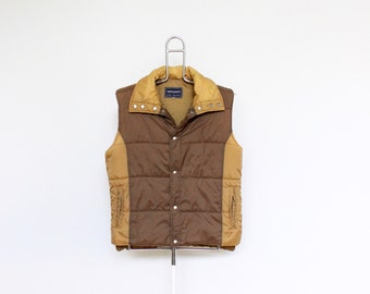 Brown Tan Ski Vest Mens Medium Unisex Womens Puffy Puffer Sleeveless Ski Jacket Network Two Tone Multi Color