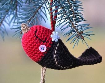Crochet Robin bird - christmas ornament - pattern, DIY