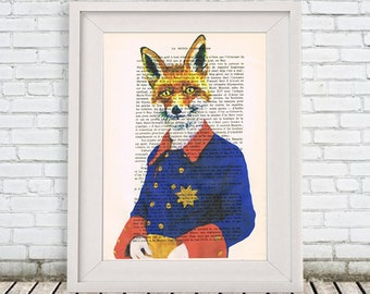 Military Fox Print, Illustration Poster Acrylic Painting Giclee Print Animal Painting Wall Decor Wall hanging Wall Art Print fox picture
