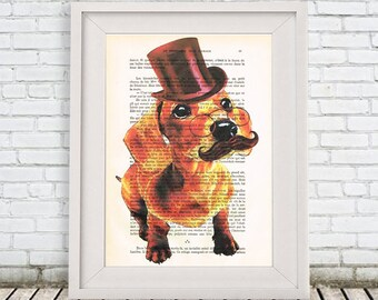 Traditional Daschund Print, Animal painting Mixed Media Wall art wall hanging Digital Print Illustration Print Acrylic Drawing Illustration