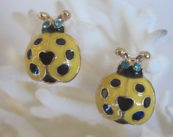 Vibrant Yellow n Black Polka Dot Lady Bug Earrings