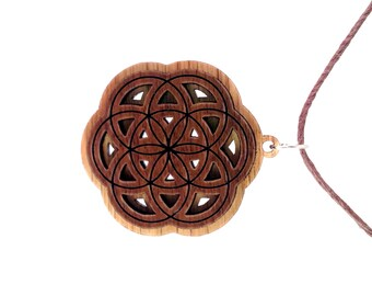 Seed of Life Two Layer Wooden Pendant - Sustainable Oak and Walnut Wood Sacred Geometry Necklace Bead - Flower of Life