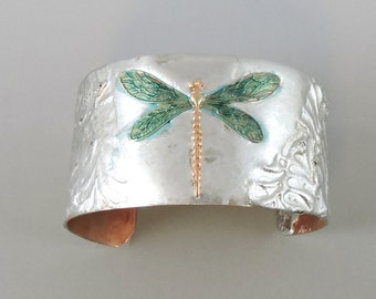 Small Stamped Solder Dragonfly Cuff Bracelet, Copper Cuff, dragonfly Jewelry, Nature Cuff Copper Bracelet, Small Cuff Flooded Solder Cuff