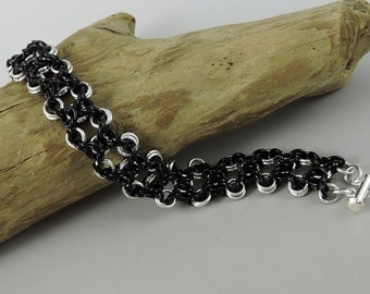 Chainmaille Bracelet Olivia Weave Chainmail Bracelet Black Chain Mail Jewelry, Goth Jewelry, Goth Chainmail