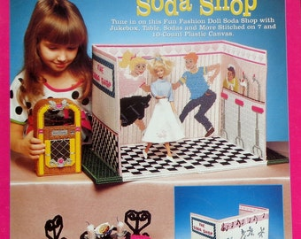 The Needlecraft Shop Fashion Doll Carry & Play SODA SHOP Plastic Canvas Dollhouse Furniture Toy For Barbie Doll - Pattern Chart Booklet
