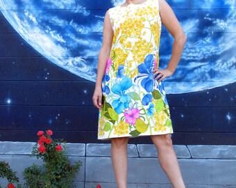 1960s botanical DRESS preppy sheath floral designer Janet Lynn vintage  //  size : M / L / Xl